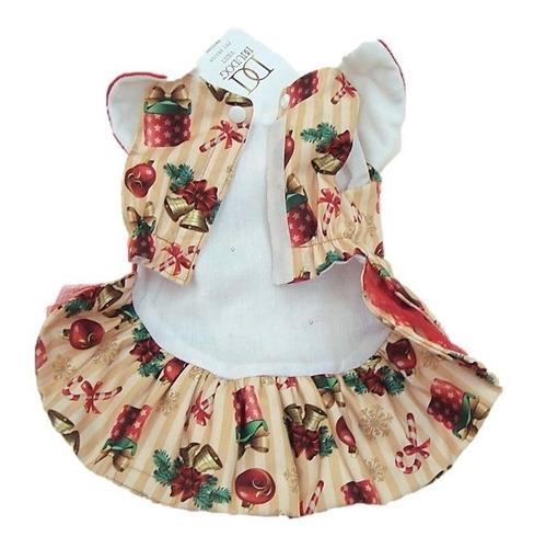 roupinha vestido p/ natal cachorro pequeno fêmea p p, p, m