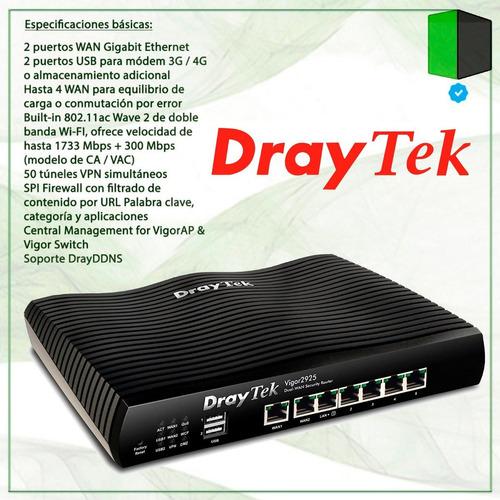 router draytek vigor 2926 doble wan giga 50 vpn 2 usb 4g