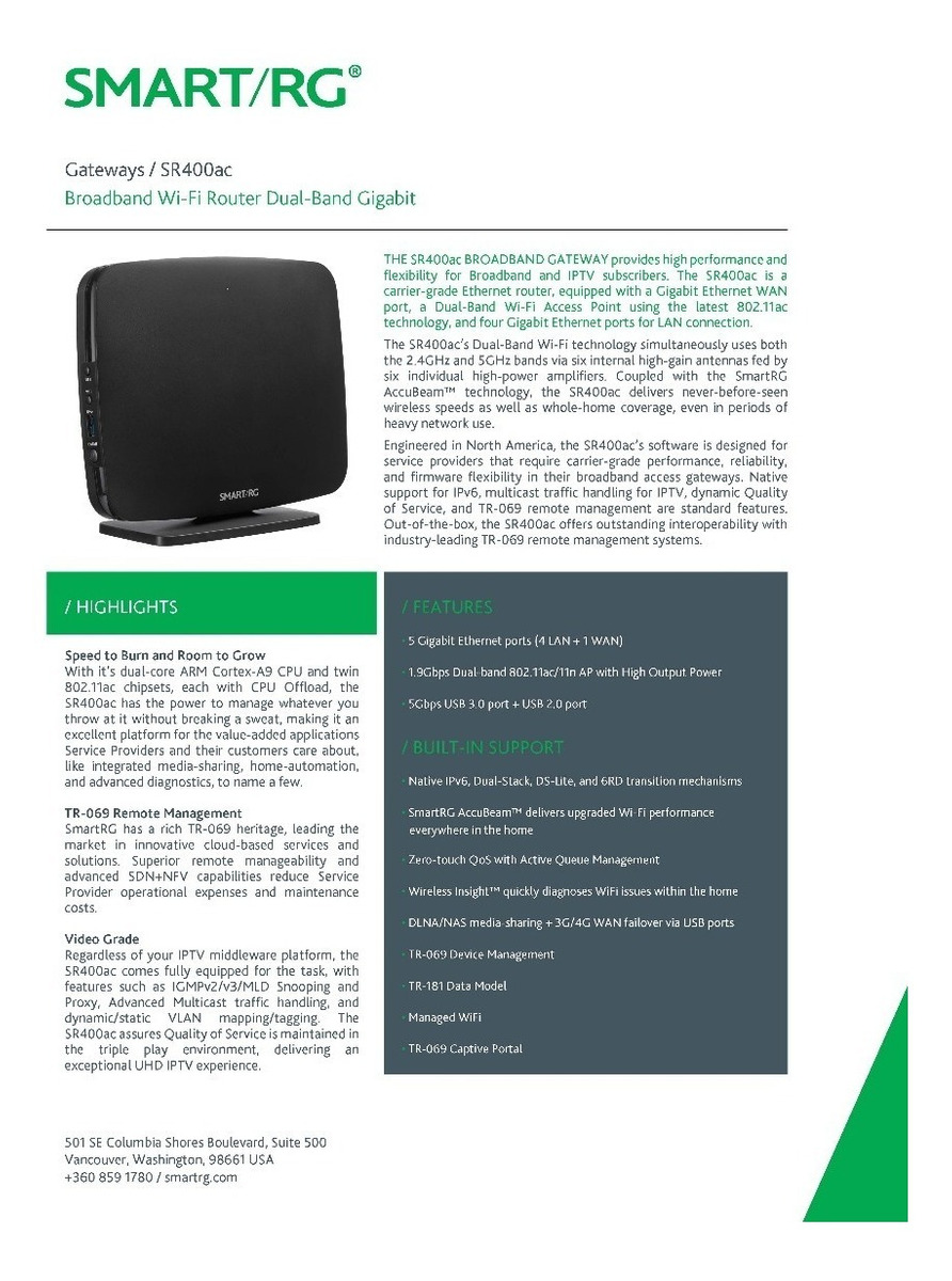 Router Dual Band 1,9 Gb (1900 Mbps) Smart/rg Sr400ac Nuevo