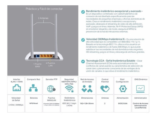 router inalambrico wifi 300mbps tl-wr840n tp link repetidor