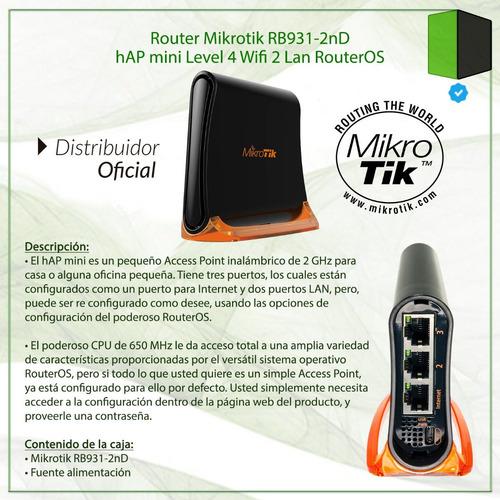 router mikrotik rb931-2nd hap mini wifi routeros l4 c/fuente