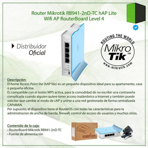 router mikrotik rb941-2nd-tc hap lite wifi ap l4 con fuente