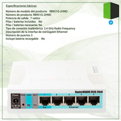 router mikrotik rb951g-2hnd wifi gigabit 10/100/1000 level 4