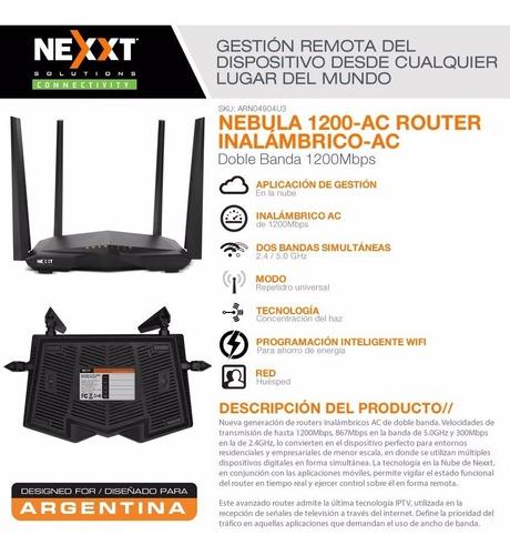 router nexxt nebula 1200mbps rompemuros dual band caballito