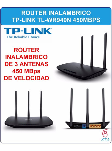 router tp-link 450mbps wifi 3 antenas inalambrico tl-wr940n