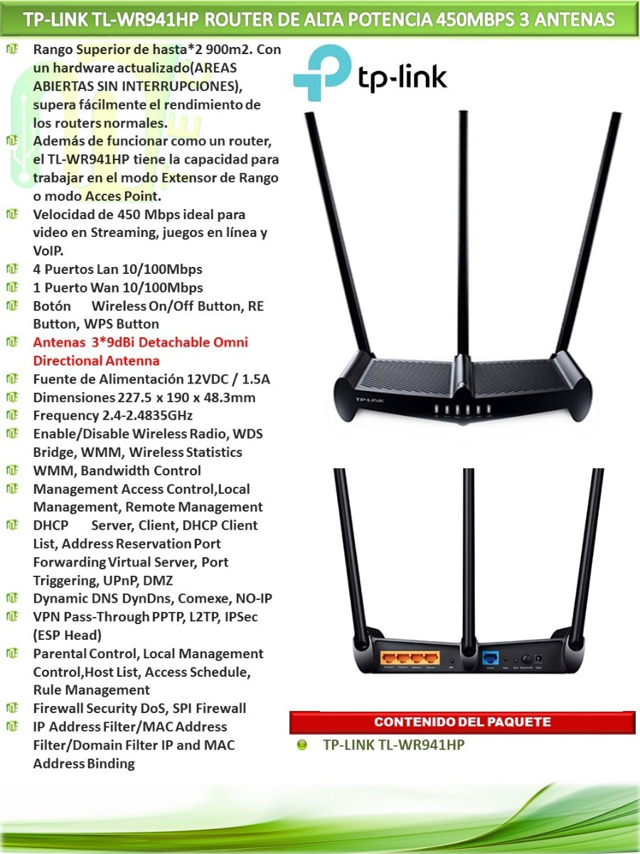 Router Tp Link 941hp 450 Mbps Wifi 3 Ant. 9 Dbi Rompemuros ...