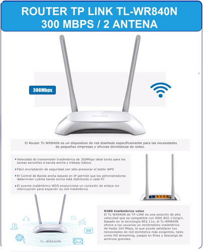 router tp-link tl-wr840n inalambrico 300mbps wifi red xtc