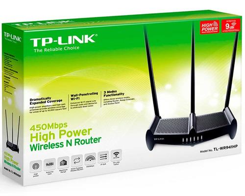 router tp-link tl-wr941hp inalámbrico 450mbps 3 antenas 9dbi