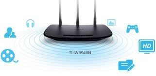 router tp-link wr940n 3 antenas 5 dbi 450 mbps inalambrico