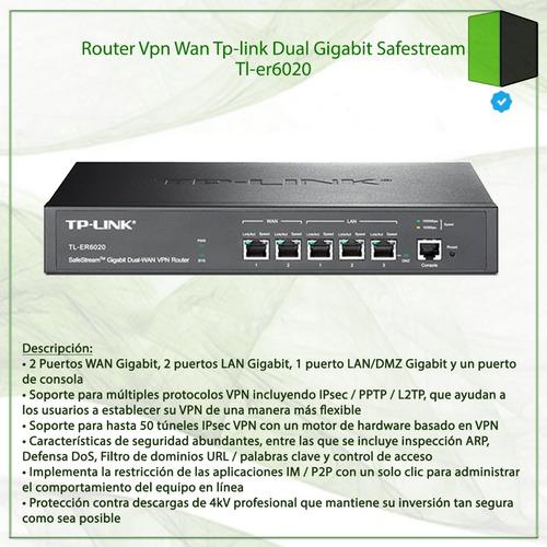 router vpn wan tp-link dual gigabit safestream tl-er6020