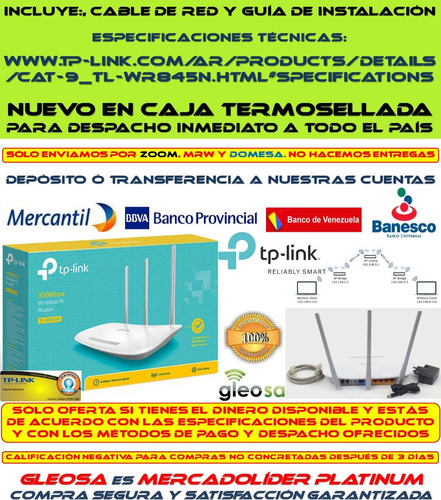 router wifi 300 mbps 3 antenas tp link wr845n tether wds qos