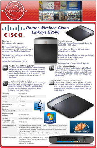 router wireless n wifi linksys e2500 dual band 4lan