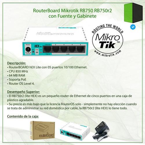 routerboard mikrotik rb750 rb750r2 con fuente y gabinete