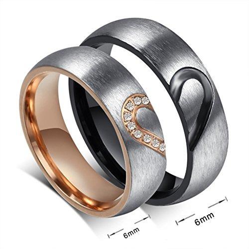 rowag 6 mm hombres en forma de corazón de acero titanium p