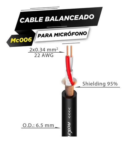 roxtone mc006 rollo de cable balanceado microfono 2*0.34mm