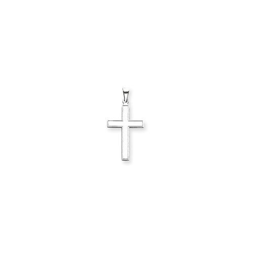 roy rose jewelry 14k oro blanco cruz colgante 36mm de lar