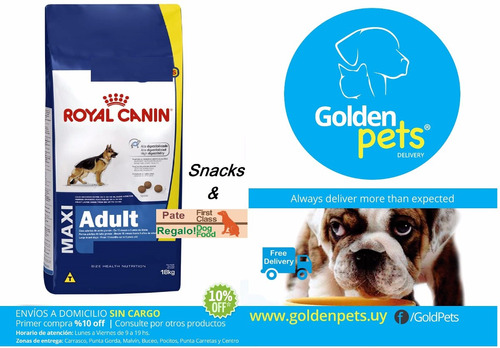 royal canin maxi adulto 15kg + envio + snacks y pate