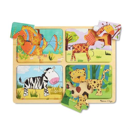 rpmpecabezas de madera wooden puzzle animal patterns melisa