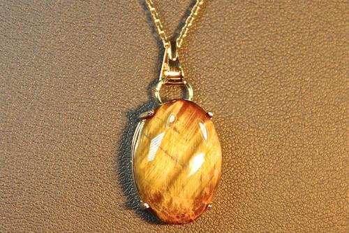 rsp j1162 colar rev a ouro  com olho de tigre natural