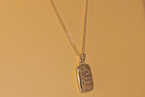 rsp j2862 colar e pingente prata 925 com mantra ambos lados