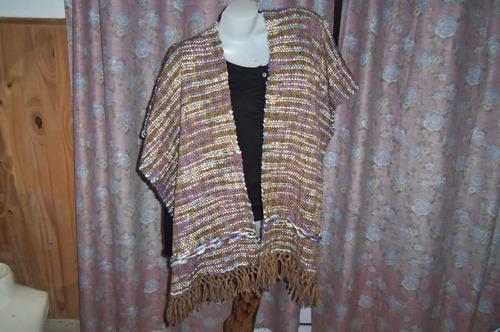 ruana, hermosa hecha en telar maria