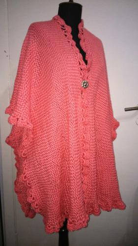 ruana tejida telar crochet lana merino sedificada