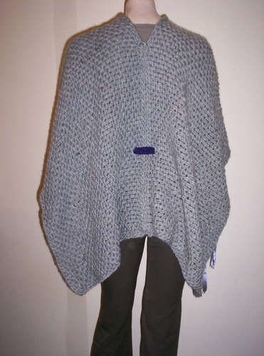 ruana única artesanal tejida telar lana abrigo poncho mujer