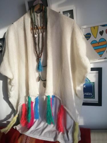 ruanas pochos kimonos lana bordados flores