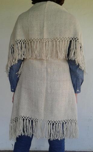 ruanas solapa tejidas en telar 100 % lana de llama
