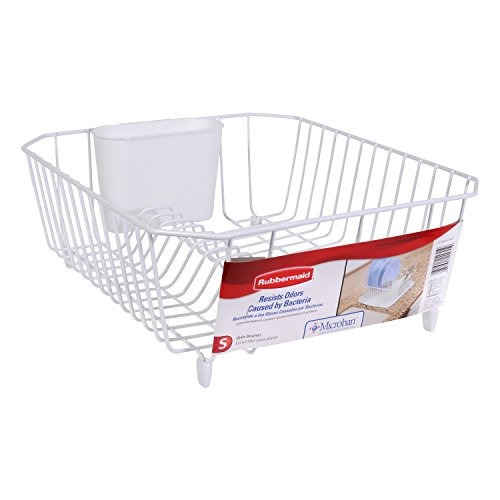rubbermaid antimicrobiana escurreplatos, pequeña, blanca