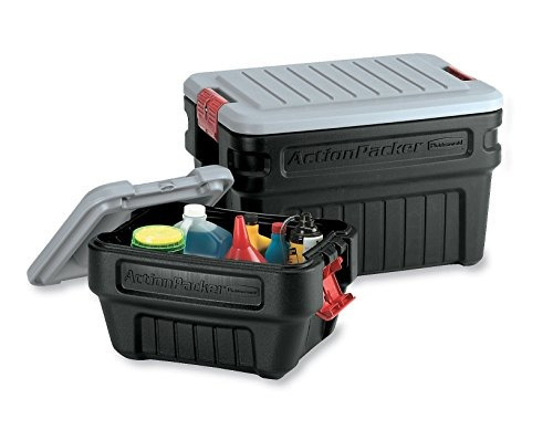 rubbermaid box 1172 actionpacker de almacenamiento, 24 galo