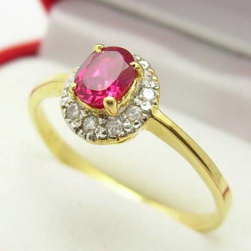 ddeffbc1a10 Rubi E Diamante Lindo Anel Ouro 18k! - R  777