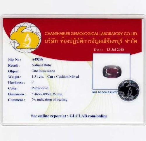 rubi natural, s/ tratamento, 1.31 cts, vs, certificado glc !