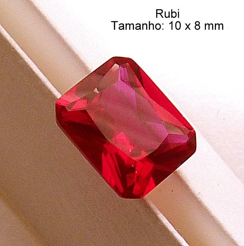 16eaa2950aa Rubi Pedra Preciosa Preço 1 Gema 10x8 Mm Retângulo 3165 - R  180