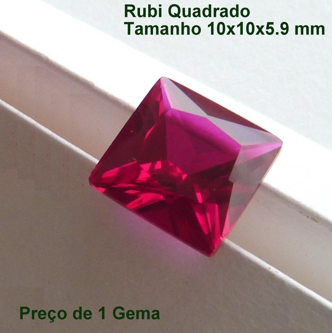 444b4a7a40e rubi pedra preciosa preço de 1 gema 10x10 mm quadrada 3158. Carregando zoom.