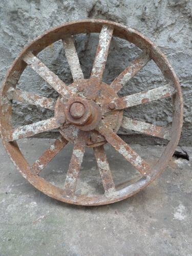 rueda de carro carretilla hierro antigua. 43cm diametro