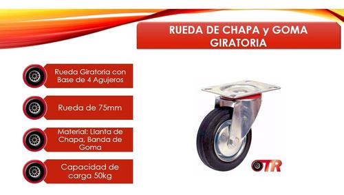 rueda de chapa y goma giratoria 75mm