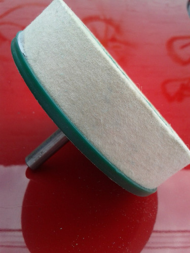 rueda de fieltro 4 pulgadas diam p/taladro pulido de vidrios