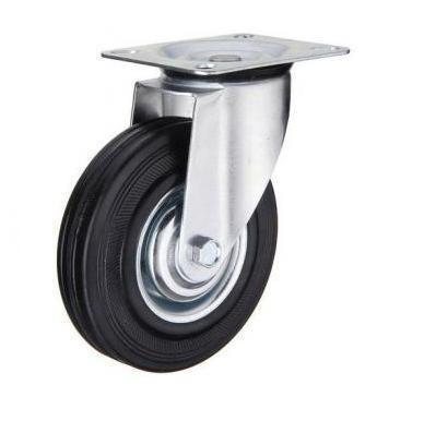 rueda de goma con base giratoria 125mm código 123