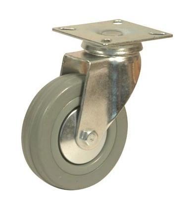 rueda de goma gris con base giratoria 100mm código rg100