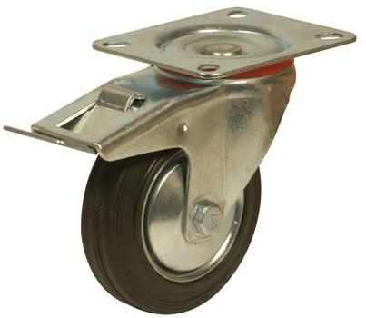 rueda giratoria de goma ø125mm para pallets x5 ( 2 c/freno )