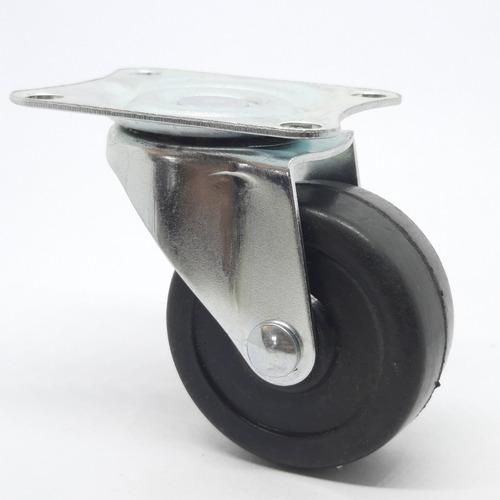 rueda goma c/base giratoria 50mm para muebles x 4 unidades