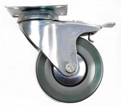 rueda ind. gris plana 3  con frenos - ferretek