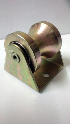 rueda o roldana de porton para tubo de 2 pulgadas con base