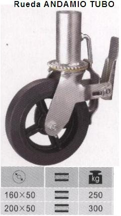 rueda para andamio de tubo reforzada 43mm 8x2 código ra200t