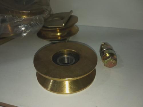 rueda para porton con perno en v 70mm hierro bronceado