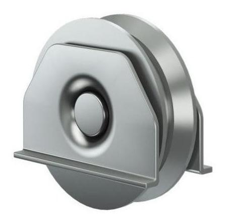 rueda para portón corredizo v 80 mm acero con soporte