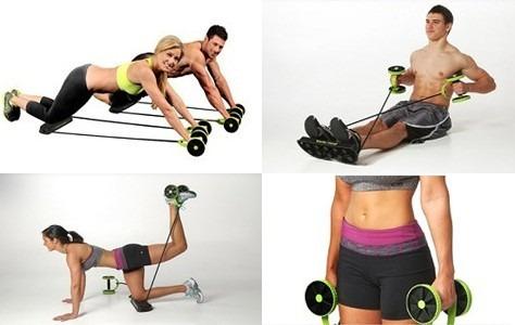 rueda rodillo abdominal con banda elastica portatil gym tv