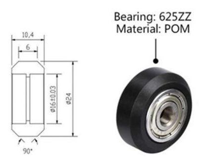rueda v-slot ender3 pom rodamiento 625zz