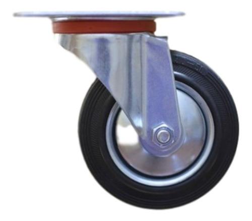 ruedas 2 giratorias y 2 fijas 100mm  chapa y goma